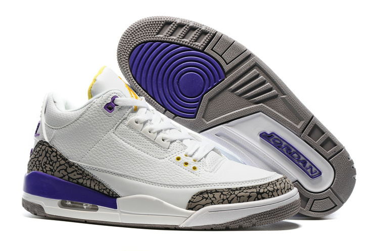 2016 Air Jordan 3 Kobe Edition White Purple Yellow Shoes