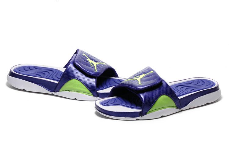 2016 Jordan Hydro IV Retro Blue White Fluorscent Green Sandal