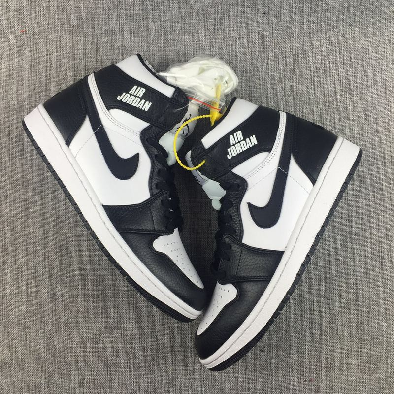 2017 Air Jordan 1 Nike Logo Black White Shoes