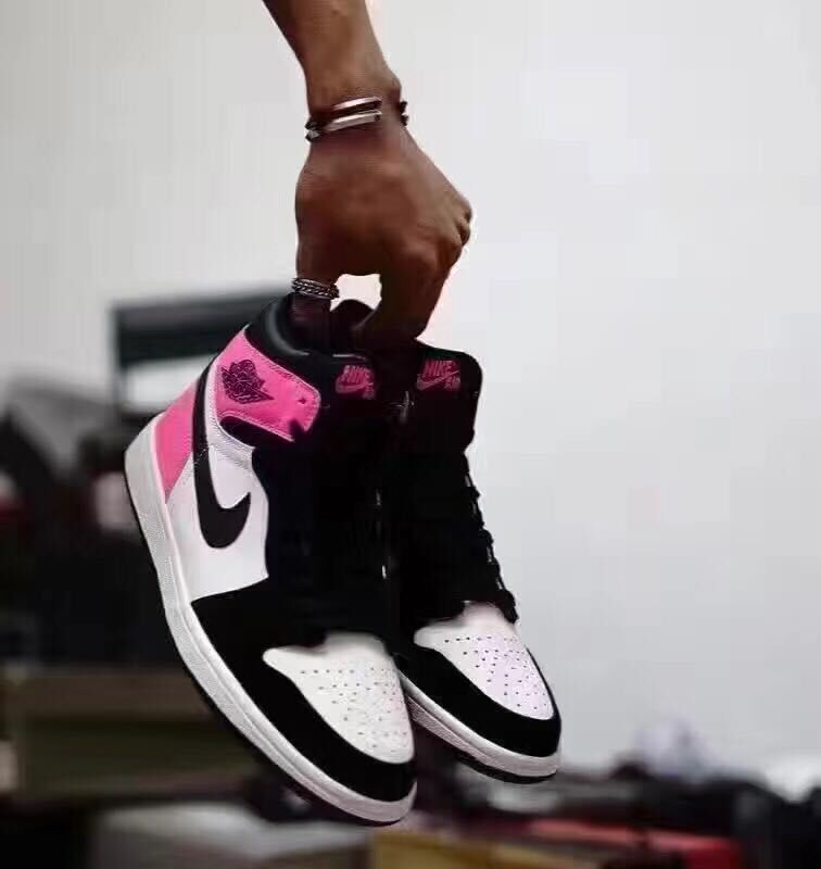 2017 Air Jordan 1 Valentine's Day Black White Pink Shoes