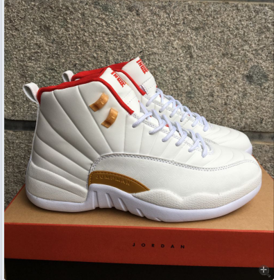 2017 Air Jordan 12 White Red Gold Shoes
