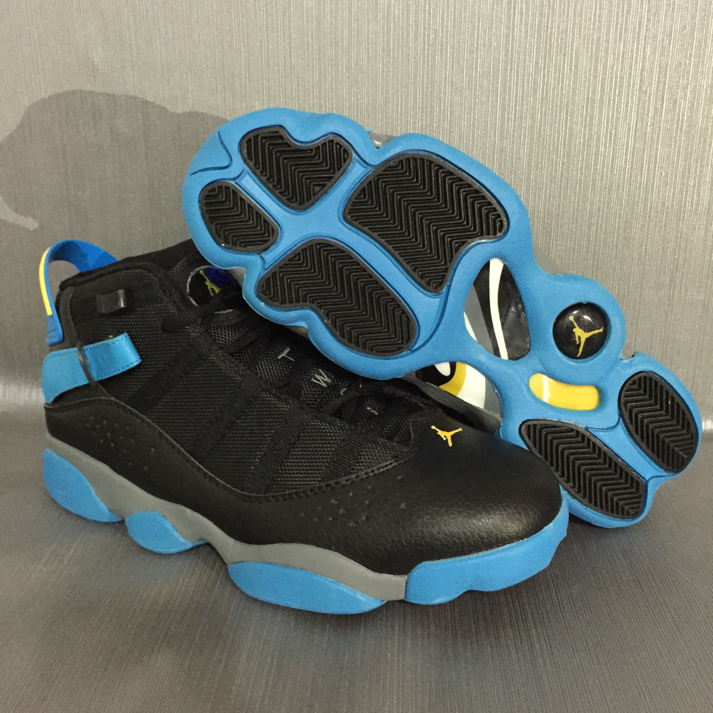 2017 Air Jordan 6 Rings Black Blue Yellow Shoes