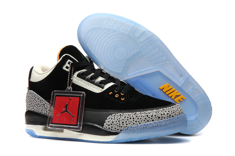 2017 Atmos X Air Jordan 3 Black Grey Blue Shoes