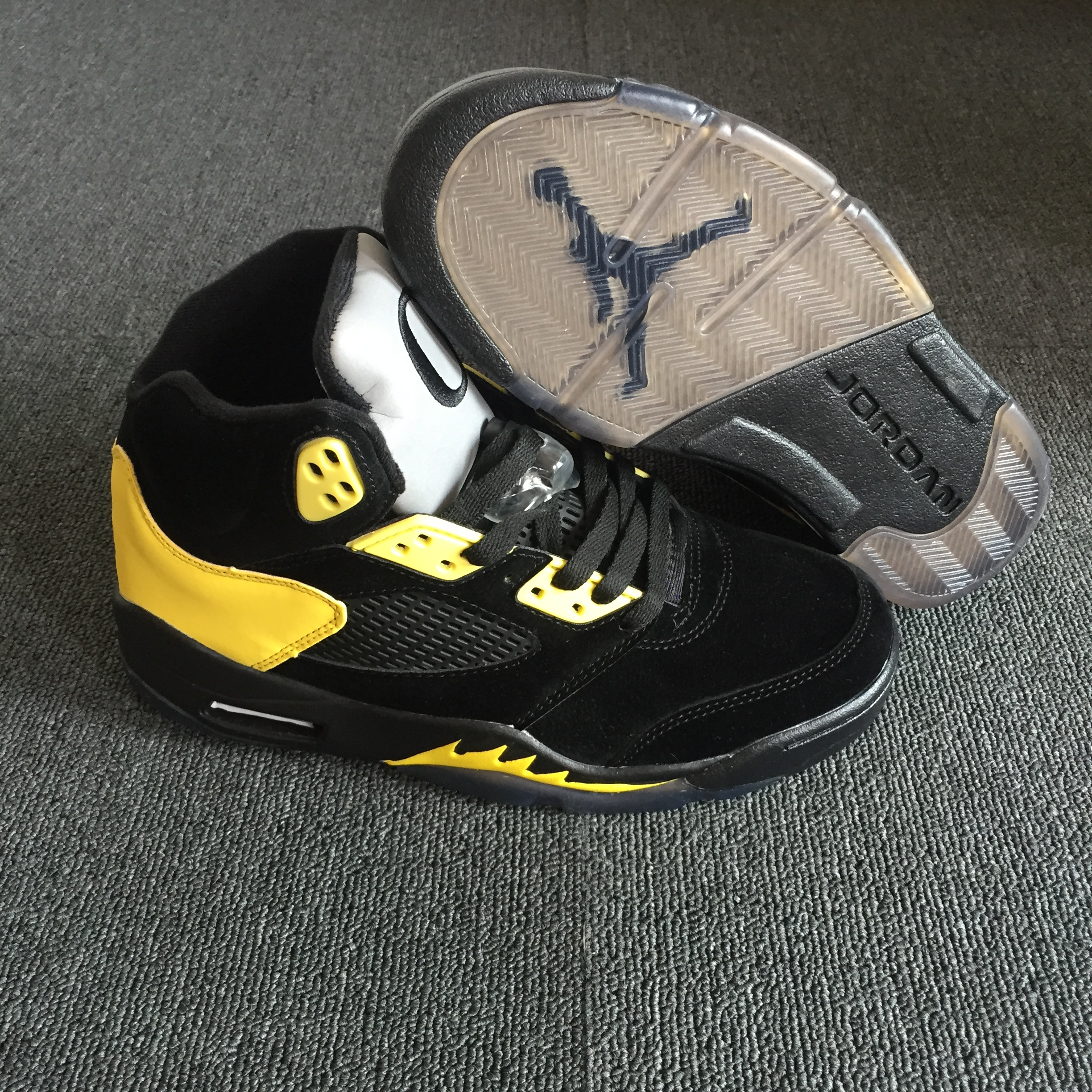 2018 Air Jordan 5 Oregon PE Black Yellow Shoes