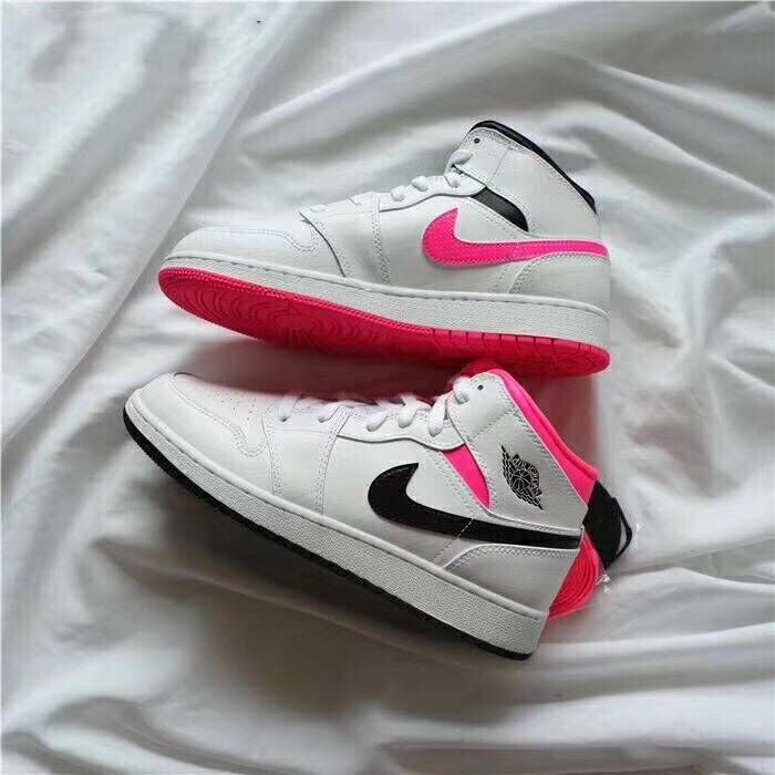 2018 Women Air Jordan 1 Valentine's Day White Pink Black Shoes