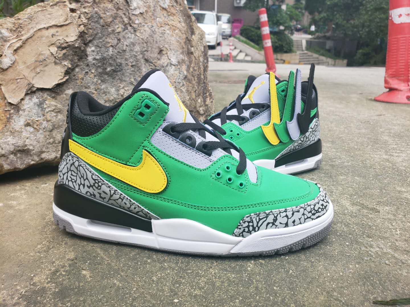 Air Jordan 3 Retro Green Black Yellow Cement Grey Shoes