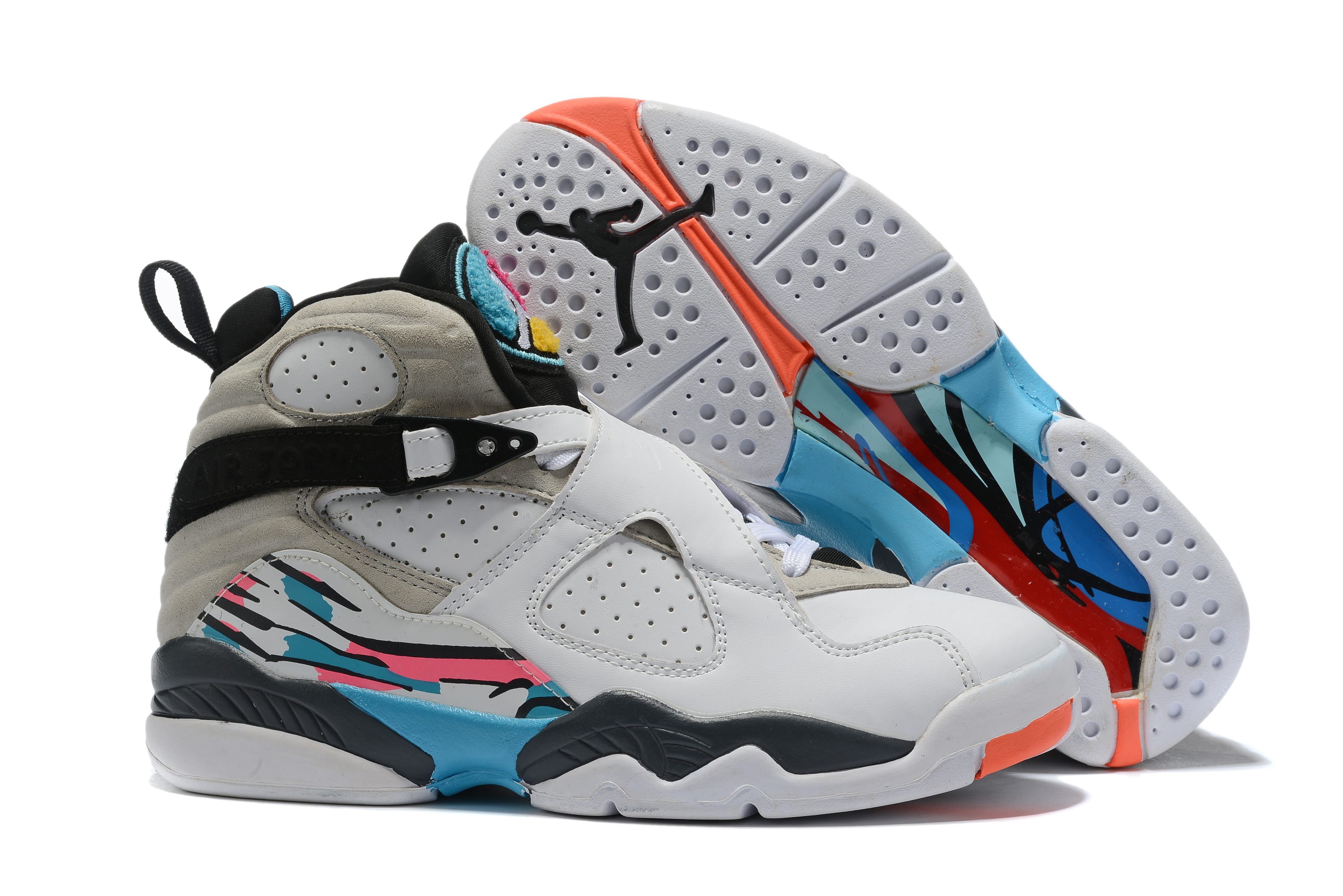 2019 Air Jordan 8 White Grey Black Jade Orange Shoes