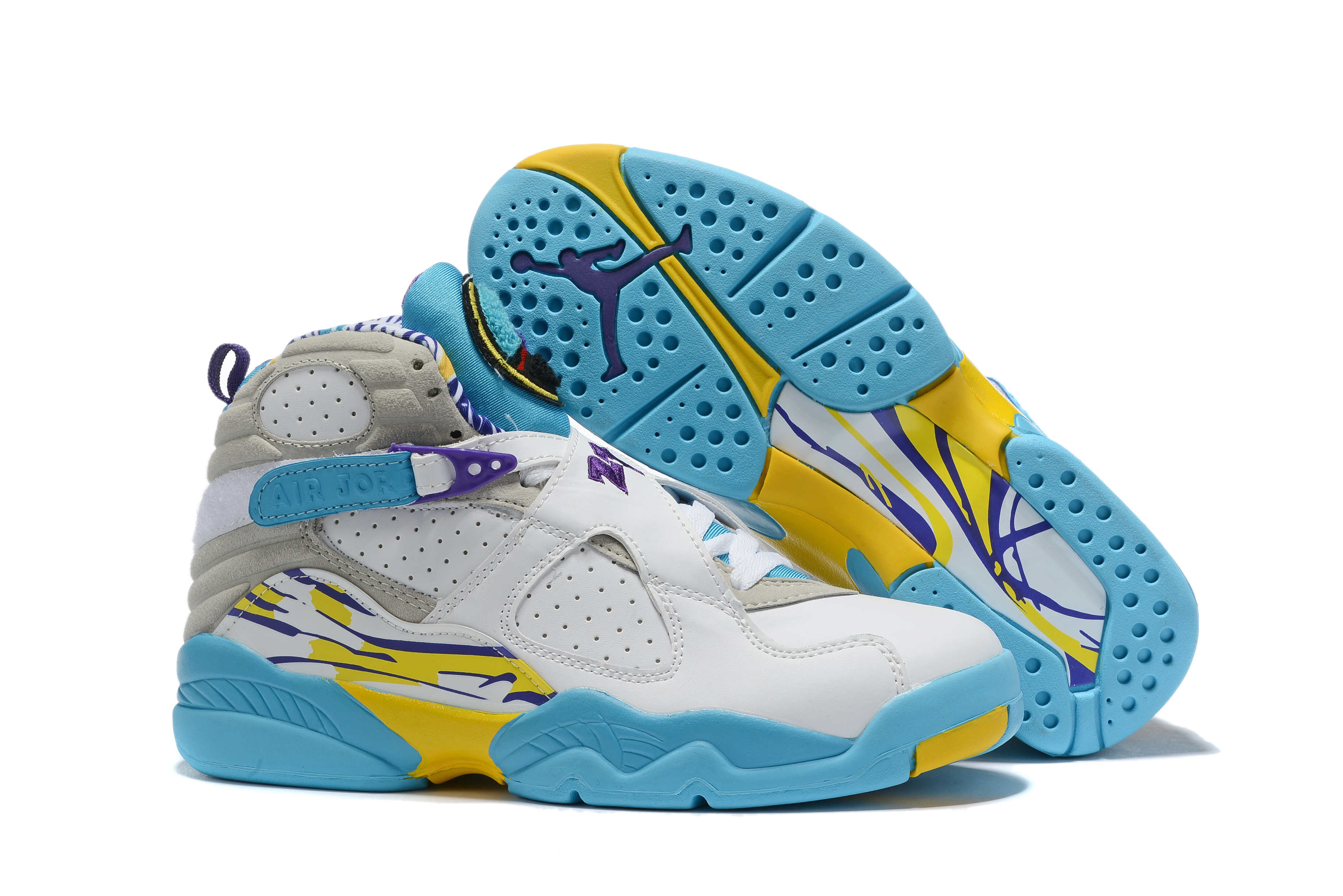 2019 Air Jordan 8 White Jade Blue Grey Yellow Shoes