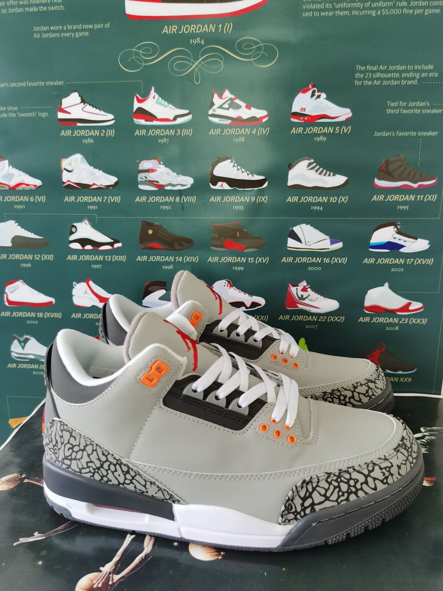 2020 Air Jordan 3 Cool Grey Orange Shoes