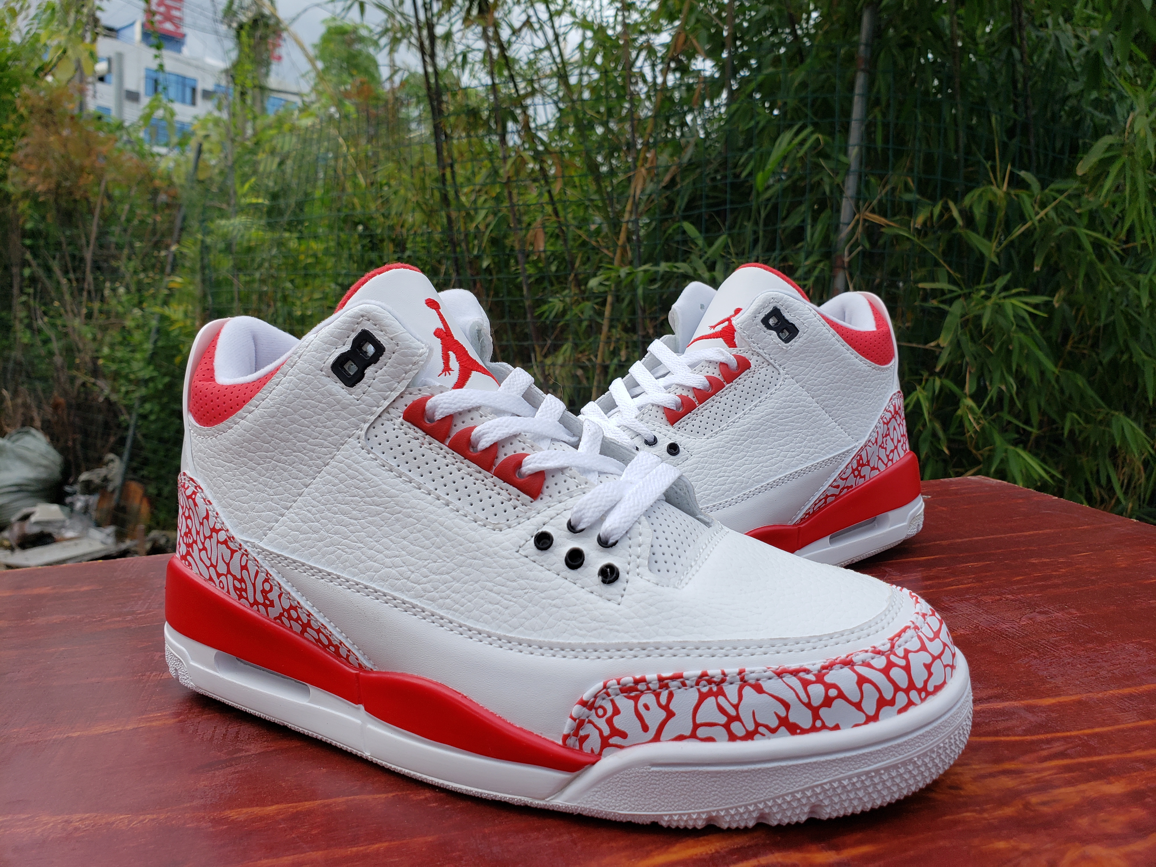 2020 Air Jordan 3 Retro White Red Shoes
