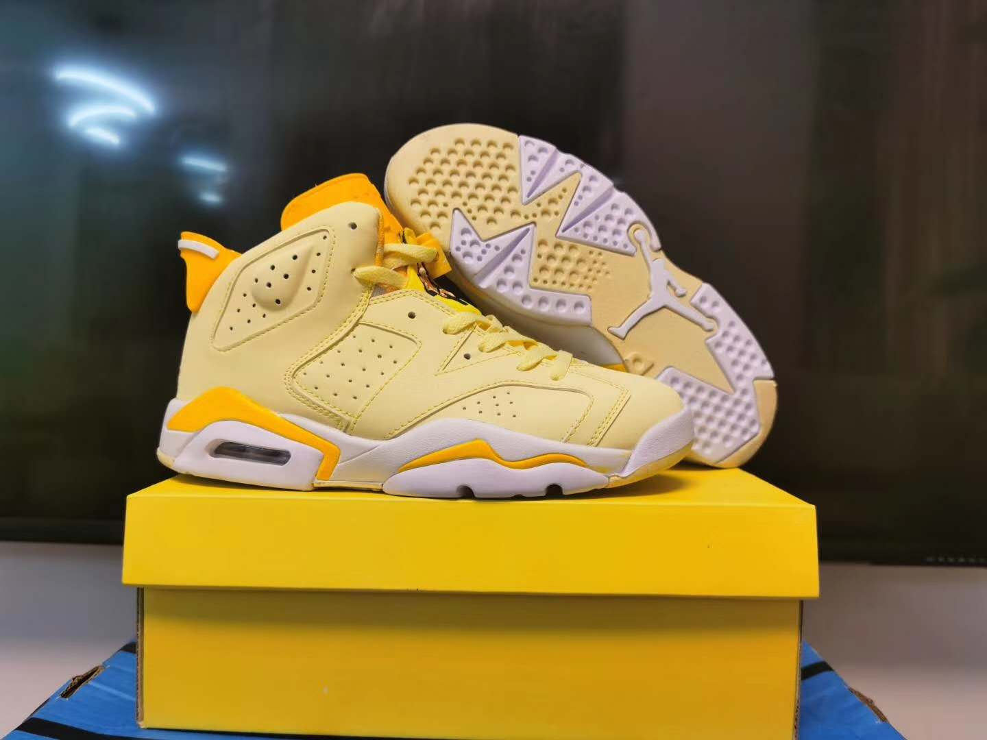 2020 Women Air Jordan 6 Yellow White Shoes