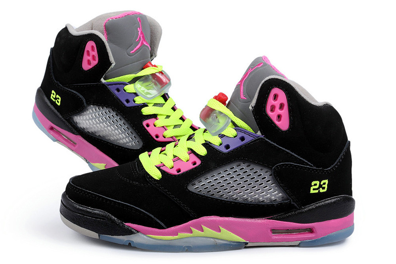 New Arrival Jordan 5 Black Fluorescent Green Peach Shoes For Women