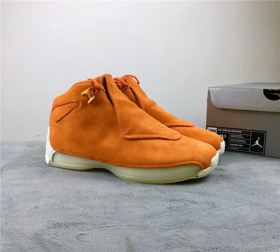 Air Jordan 18 Orange Suede Shoes