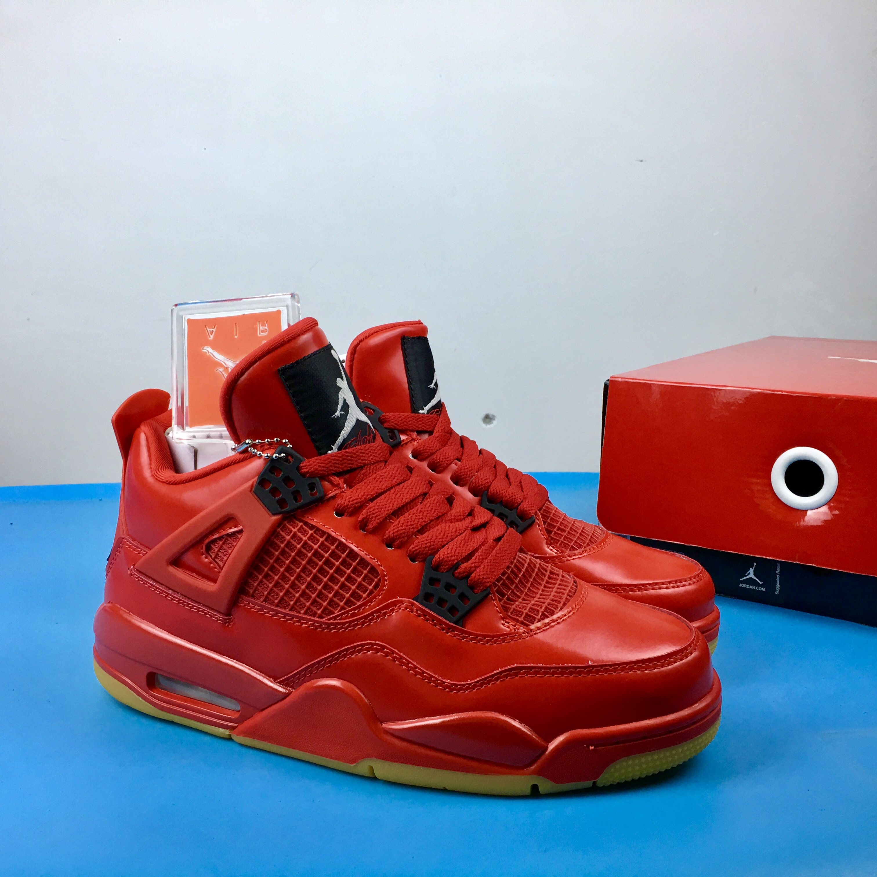 Air Jordan 4 Singles Day All Red Gum Sole Shoes