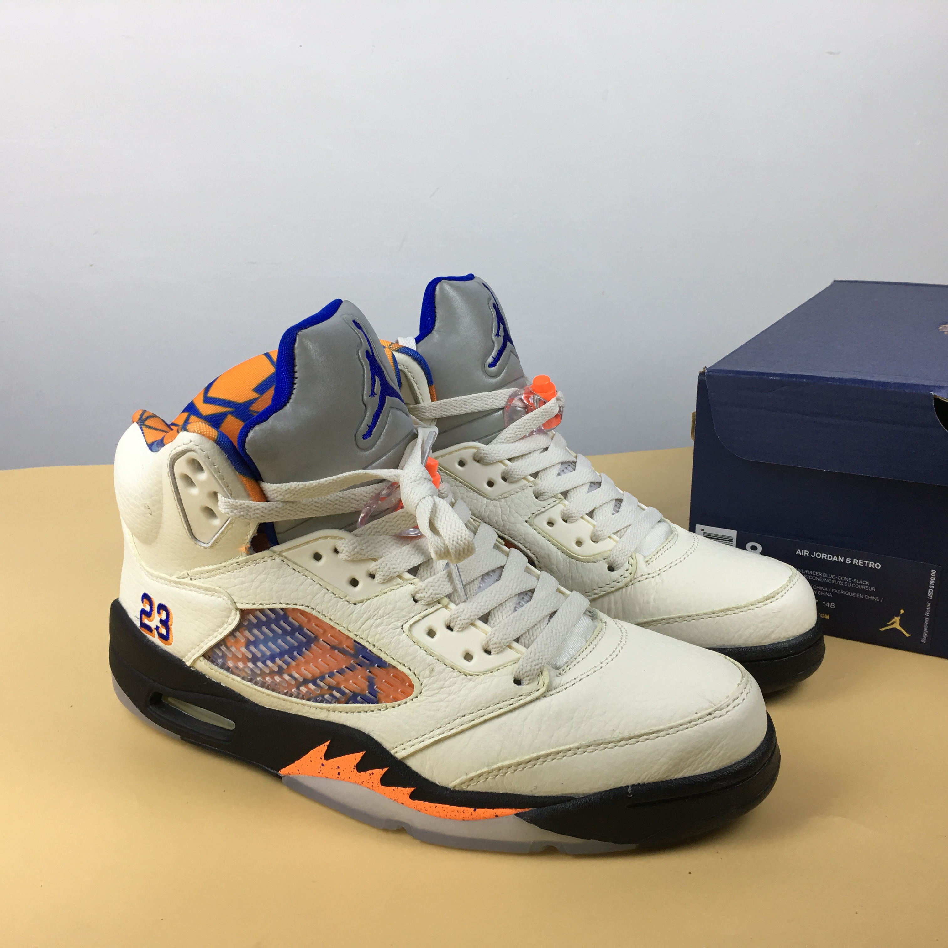 Air Jordan 5 International Flight White Orange Blue Shoes