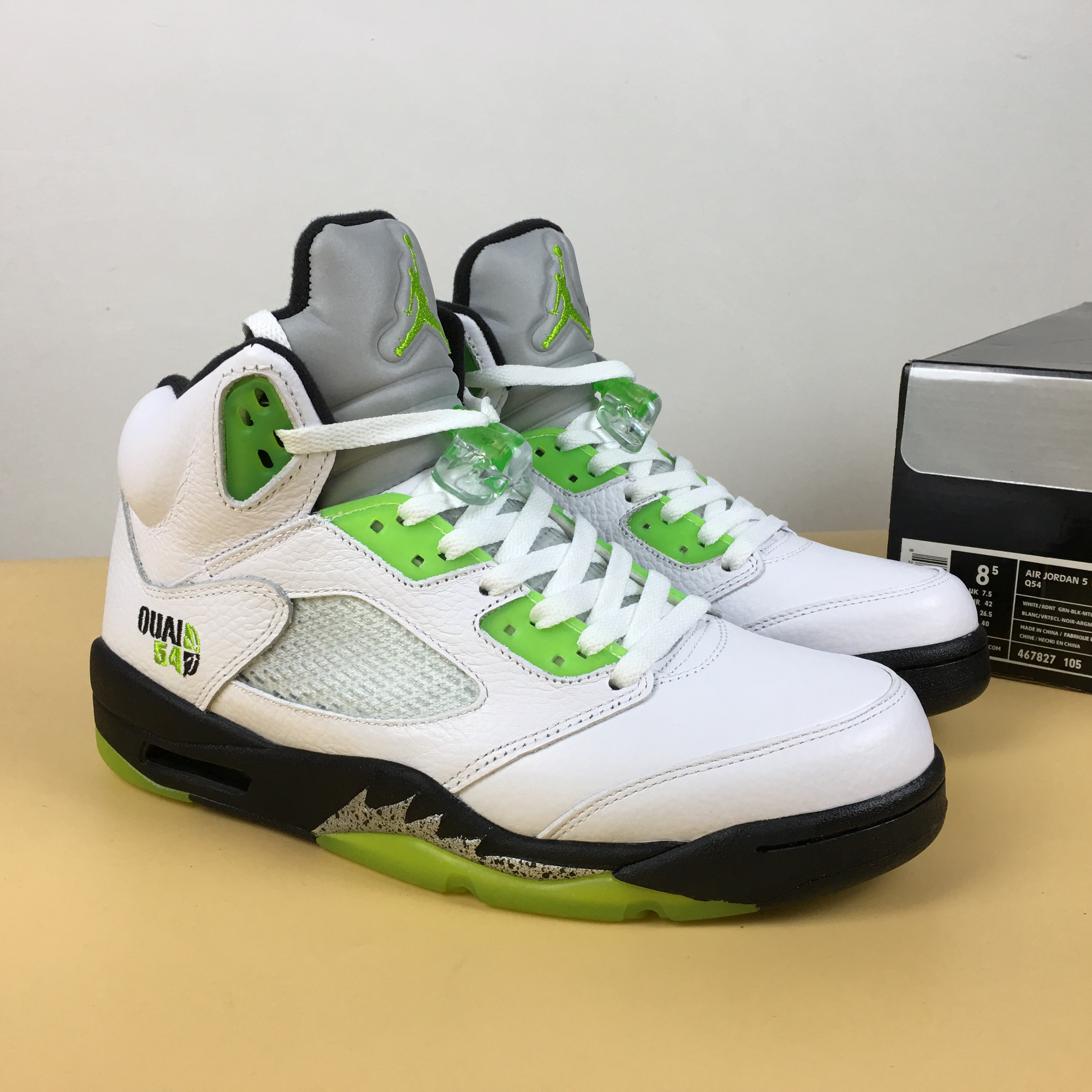 Air Jordan 5 Quai54 White Green Black Shoes
