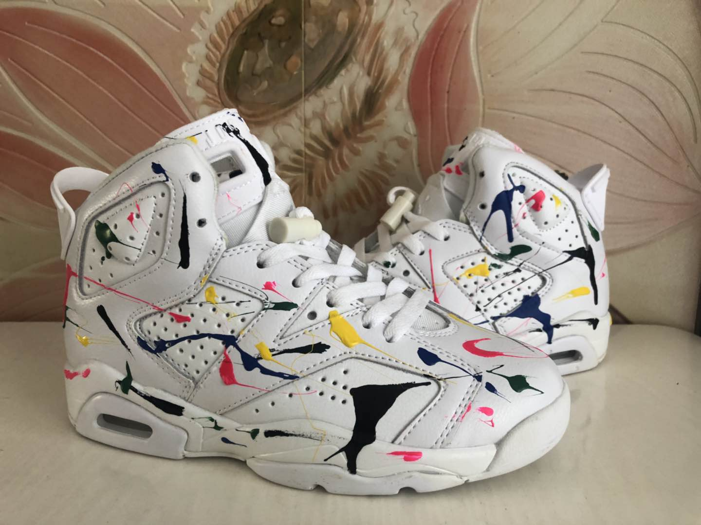 Air Jordan 6 GS Graffiti White Colorful Shoes