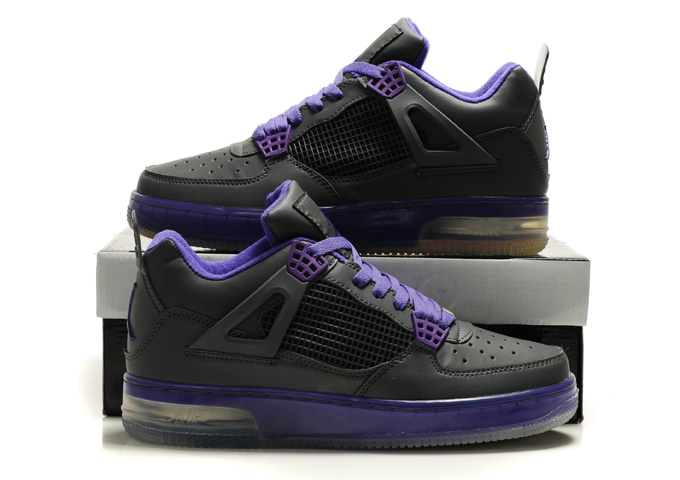 Nice Air Force Jordan 4 Shine Sole Black Purple Shoes