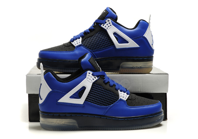 Nice Air Force Jordan 4 Shine Sole Blue Black White Shoes