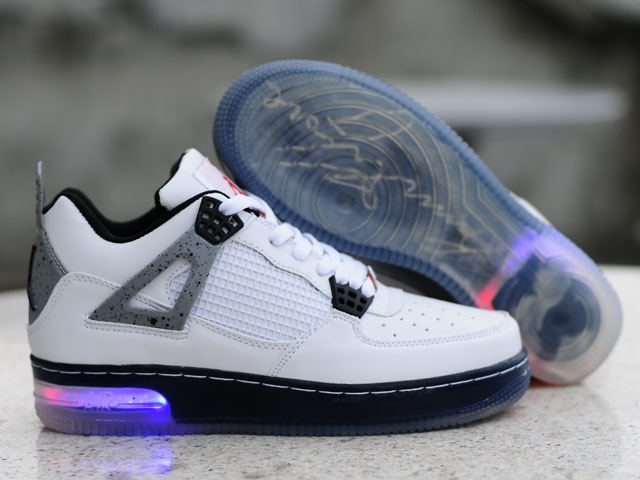 Nice Air Force Jordan 4 Shine Sole White Black Shoes
