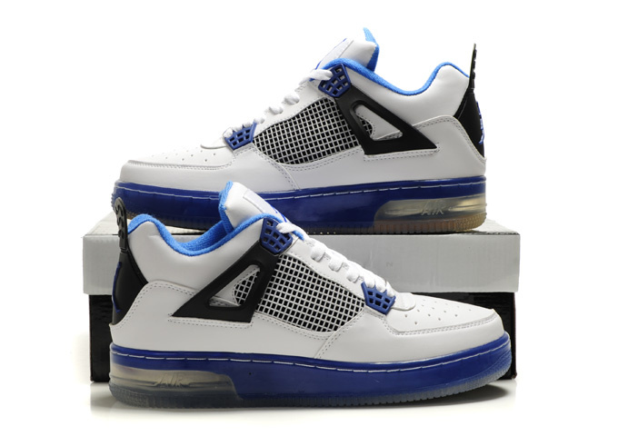 Nice Air Force Jordan 4 Shine Sole White Blue Black Shoes