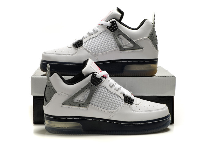 Nice Air Force Jordan 4 Shine Sole White Grey Black Shoes