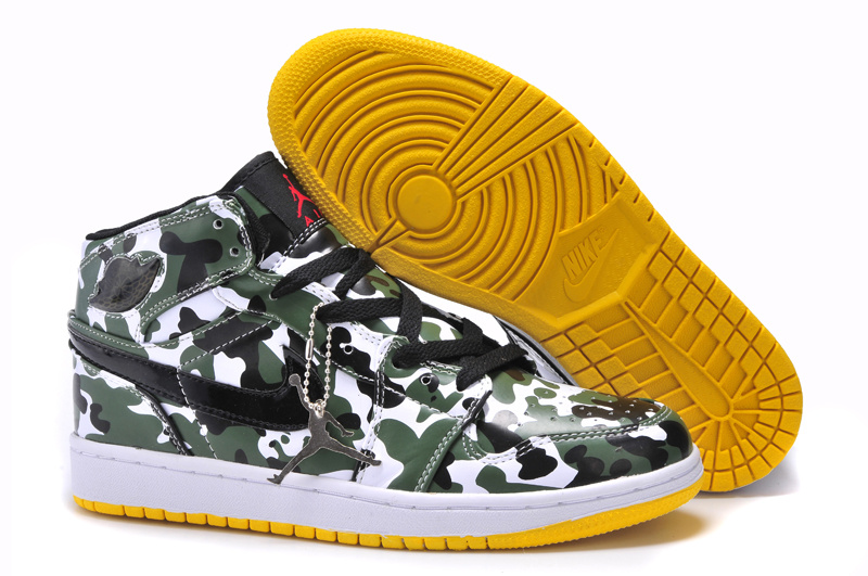New Arrival Jordan 1 Camouflage White Yellow Shoes