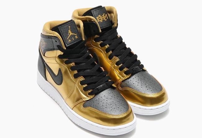 Air Jordan 1 High GS BHM Black Gold Shoes