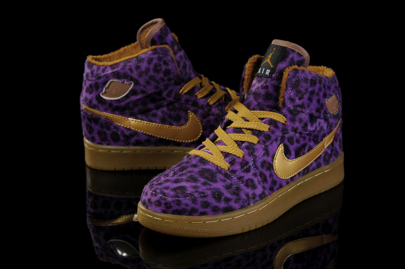 Air Jordan 1 Leopard Purple Brown For Women
