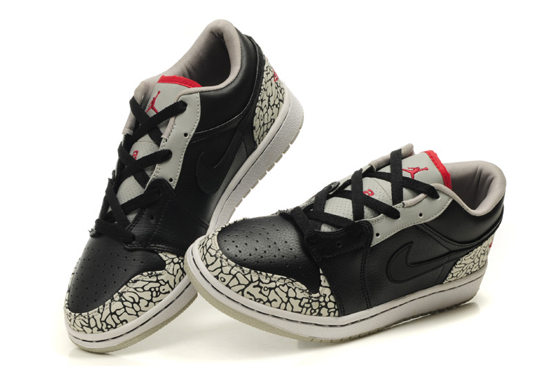 Low Air Jordan 1 Black Grey Cement Shoes