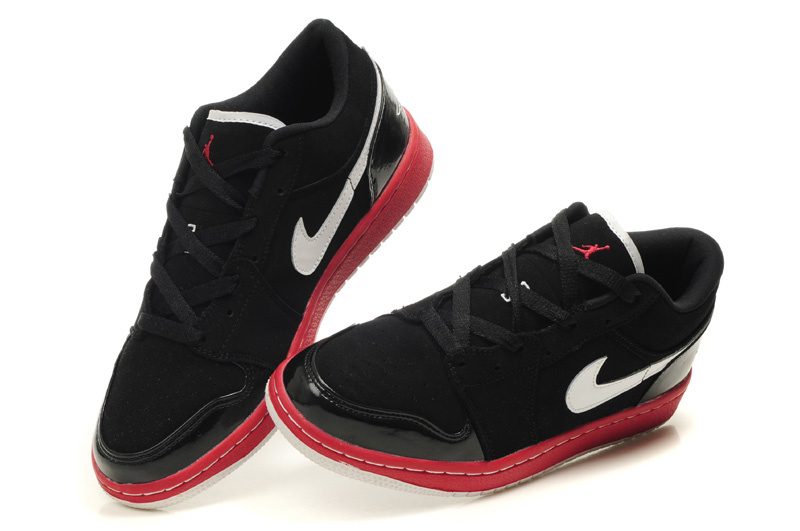 Low Air Jordan 1 Black Red White Shoes