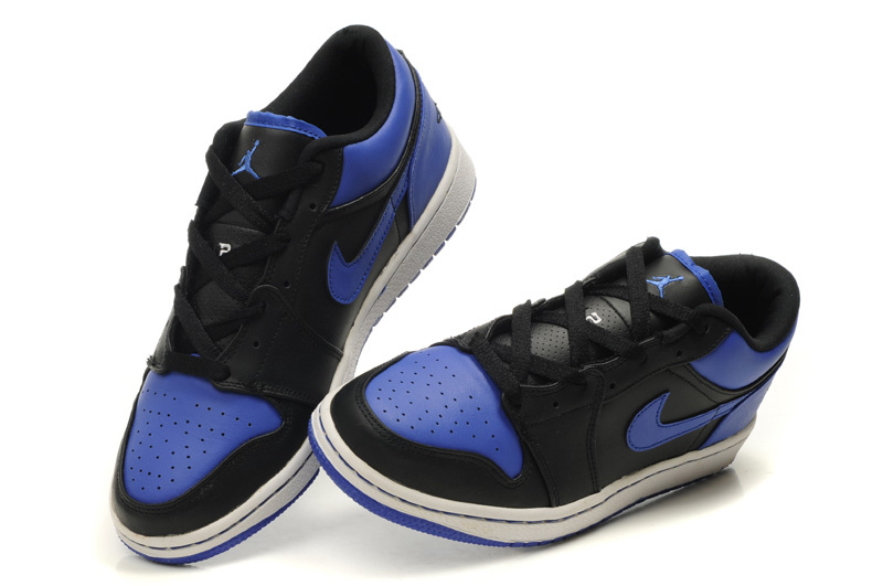 Low Air Jordan 1 Black White Blue Shoes