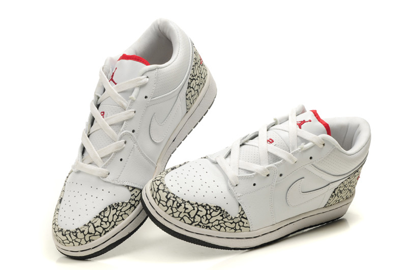 Low Air Jordan 1 White Cement Black Shoes