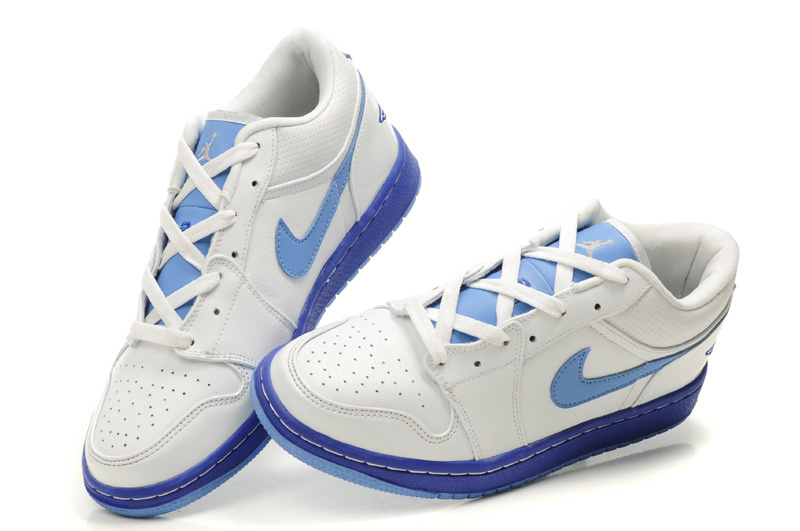 Low Air Jordan 1 White Light Blue Shoes