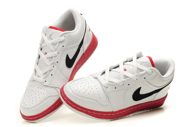 Low Air Jordan 1 White Red Black Shoes