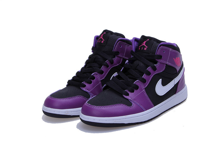 Air Jordan 1 Mid GG Black Purple White Shoes