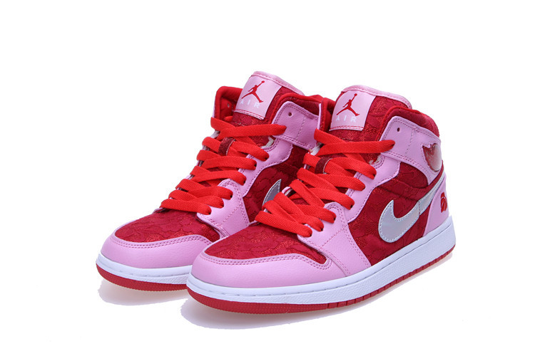 Air Jordan 1 Mid Prem GS Red Pink White For Women