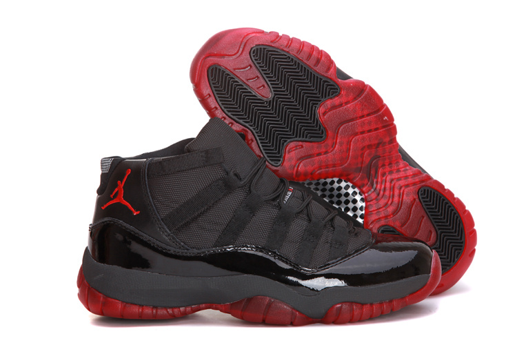 Air Jordan 11 All Black Red Shoes