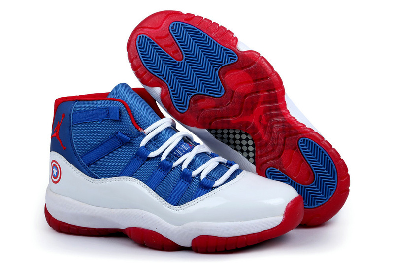 New Arrival Jordan 11 Captain America Edition Blue White Red Shoes
