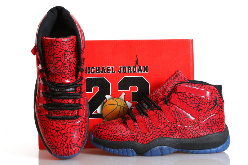 Air Jordan 11 Chicago Bulls Crack Red Black Blue Shoes