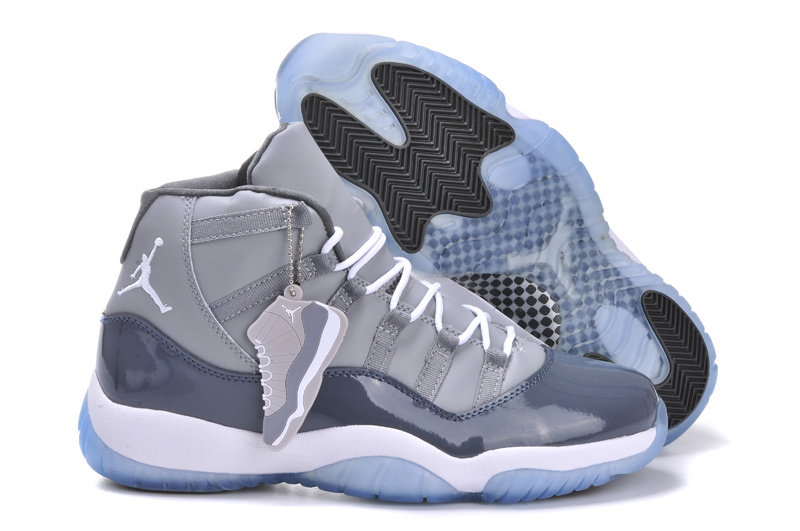 New Arrival Jordan 11 Grey White Shoes With Built in New Arrival Cushion