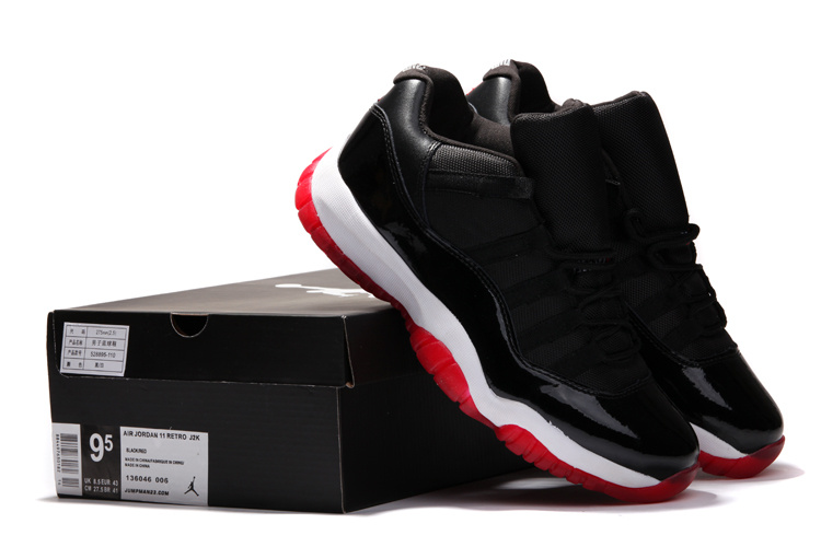 Air Jordan 11 Low Black White Red Shoes
