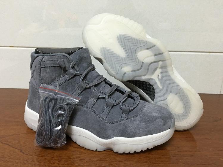 Air Jordan 11 PRM Grey Suede Shoes