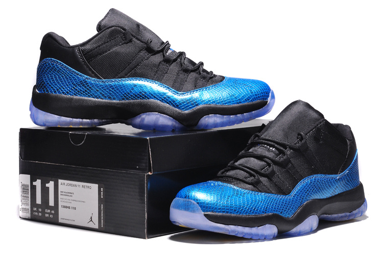 Air Jordan 11 Retro Low Black Blue Yellow Shoes