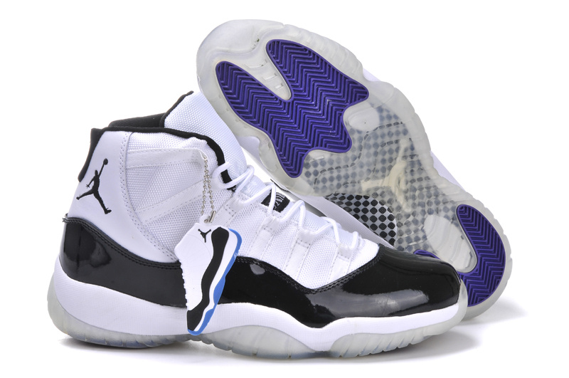New Arrival Jordan 11 White Black Blue Shoes With Built in New Arrival Cushion