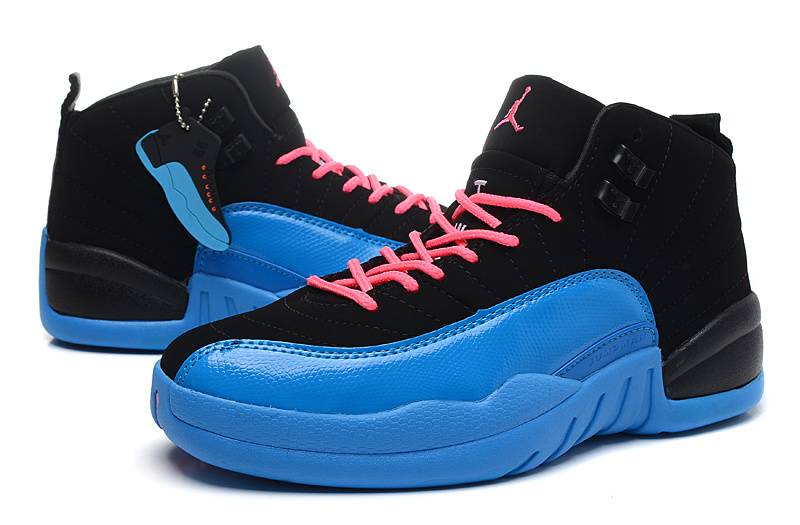 Air Jordan 12 Black Gamma Blue Pink For Women