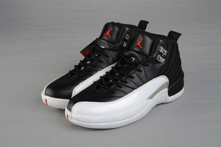 New Release Jordan 12 Black White Red For Women