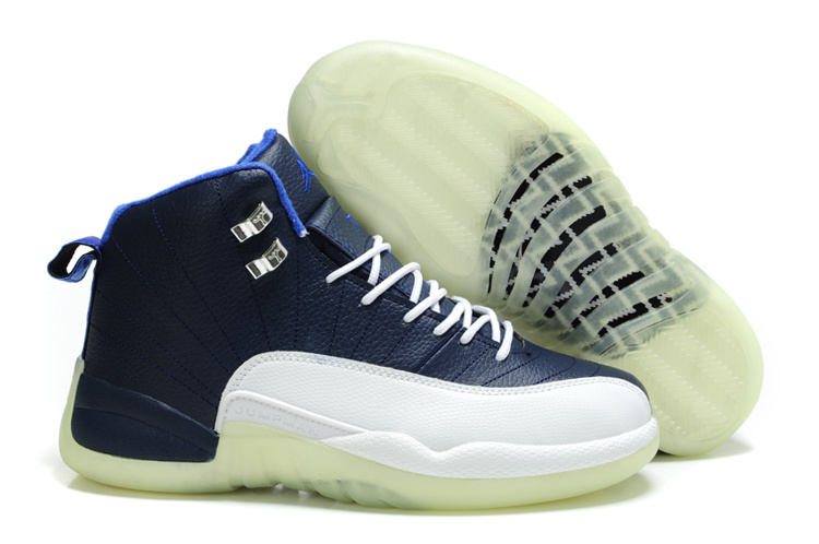 Special Jordan 12 Shine Sole Blue White Shoes