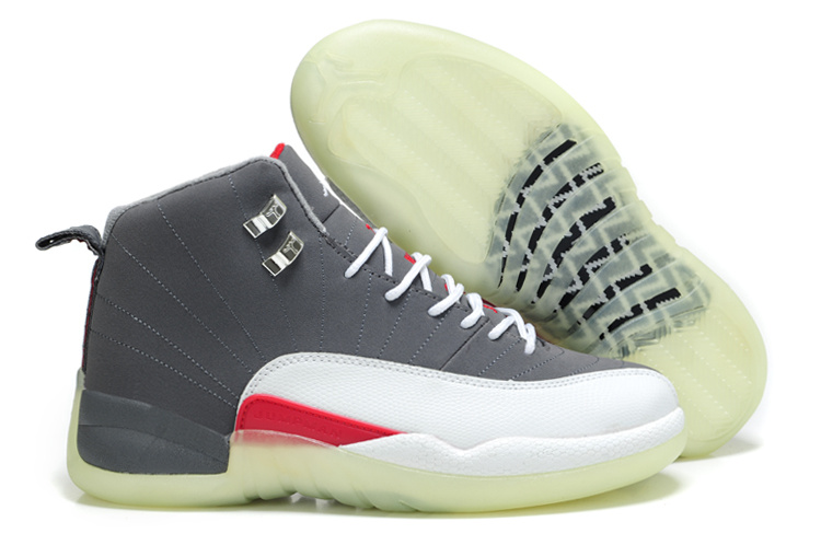 Special Jordan 12 Shine Sole Grey White Red Shoes