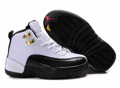 Air Jordan 12 White Black Gold For Kids